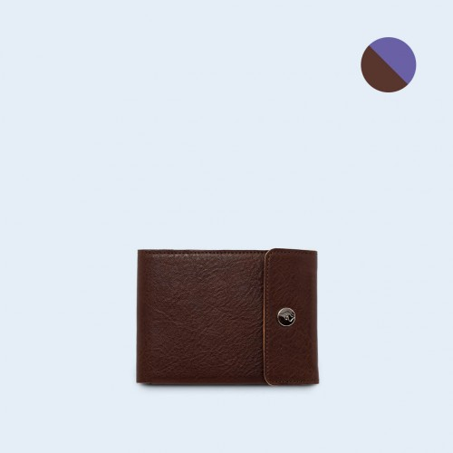 Men's leather wallet - SLOW Coin Wallet brown/sapphire
