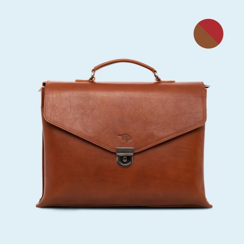 Leather business briefcase - SLOW Chief cognac/red