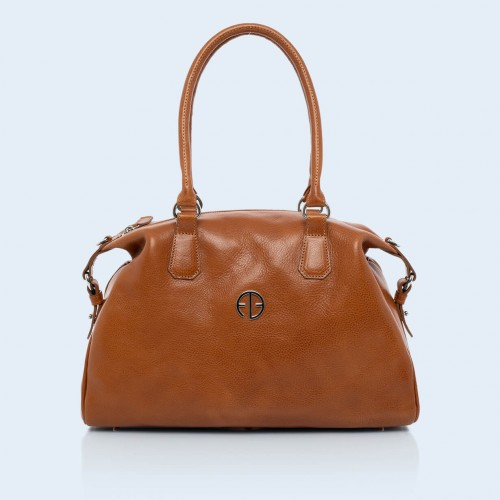 Leather handbag - Verity Bowler bag camel