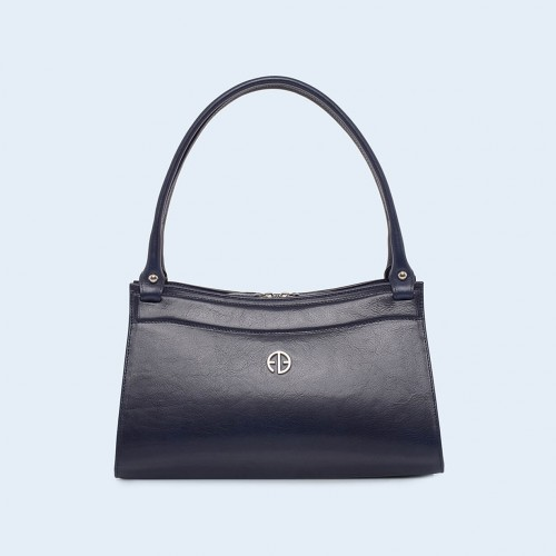 Women's leather handbag - ADAM BARON Home 06 navy blue