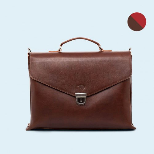 Leather business briefcase - SLOW Chief brown/red