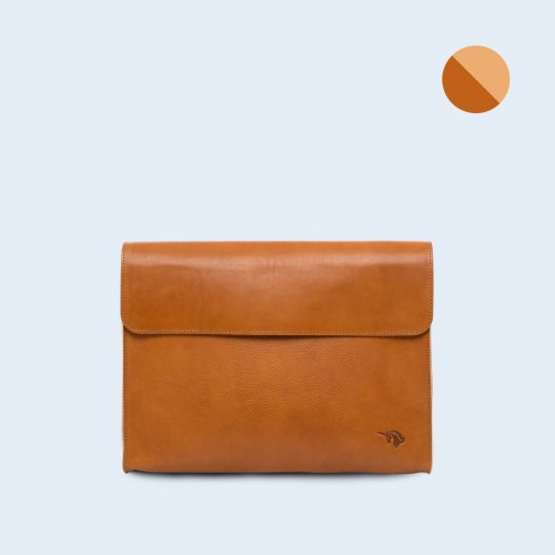 Leather Document Bag - SLOW Act camel/camel
