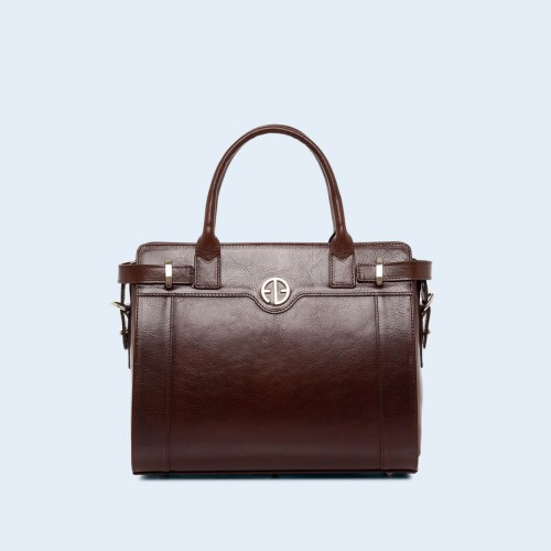 Women's shoulder and handbag - Verity Day medium chestnut brown