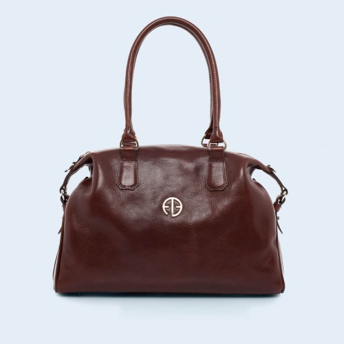 Leather handbag - Verity Bowler bag chestnut brown