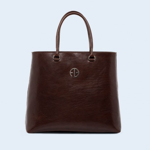 Leather women's handbag - ADAM BARON Home 04 chestnut brown