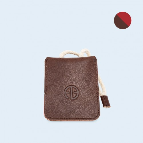 Leather key case - SLOW Key brown/red