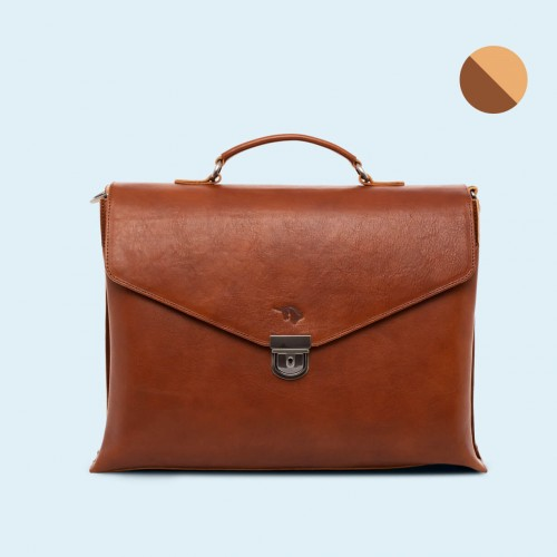 Leather business briefcase - SLOW Chief cognac/camel