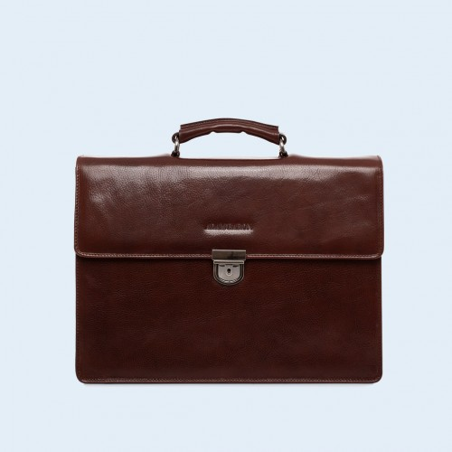 Leather briefcase - Aware Executive briefcase chestnut brown