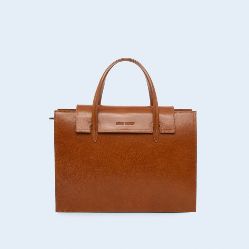 Leather women's handbag - ADAM BARON Home 05 camel