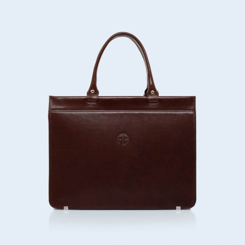 Women's leather briefcase  - Verity Business 02 chestnut brown