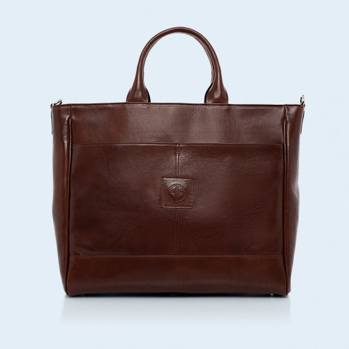 Roomy leather bag - Verity DayFull chestnut brown