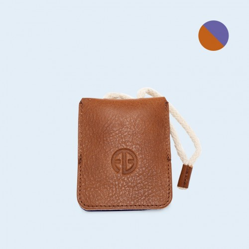 Leather key case - SLOW Key cognac/sapphire