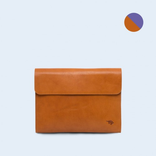 Leather Document Bag - SLOW Act camel/sapphire