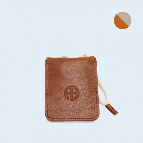 Leather key case - SLOW Key cognac/grey