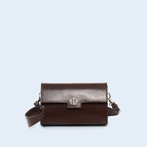 Leather bag - Verity mini crossbody chestnut brown