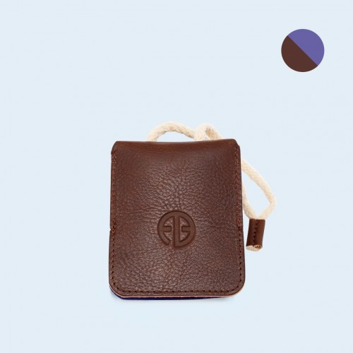 Leather key case - SLOW Key brown/sapphire
