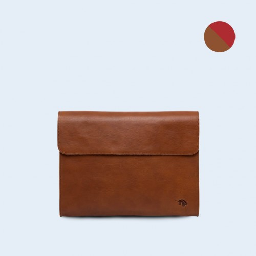 Leather Document Bag - SLOW Act cognac/red