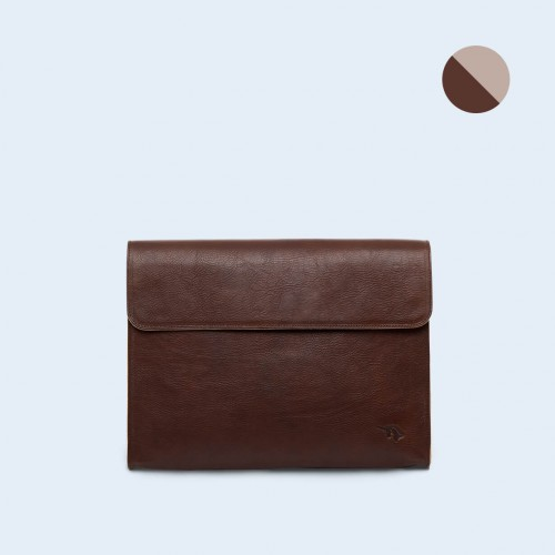 Leather Document Bag- SLOW Act brown/grey
