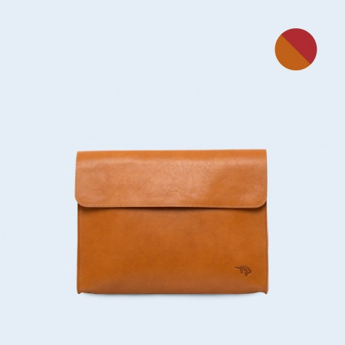 Leather Document Bag- SLOW Act camel/red