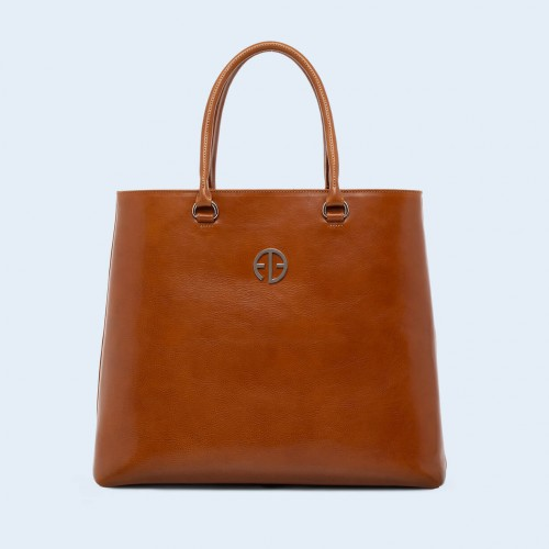Leather women's handbag - ADAM BARON Home 04 camel